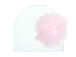 White Cotton Hat with Pale Pink Large regular Marabou