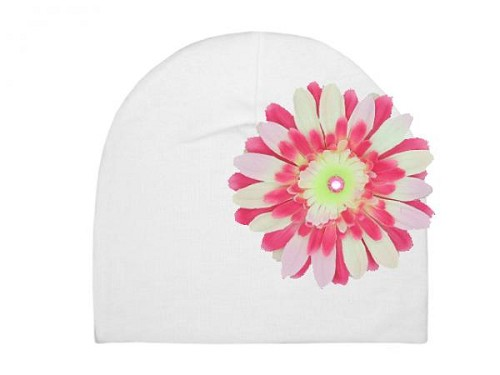 White Cotton Hat with Pink Raspberry Daisy