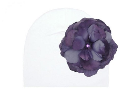 White Cotton Hat with Purple Large Rose