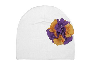 White Cotton Hat with Purple Orange Large Geraniums