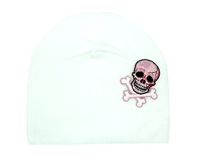 White Applique Hat with Pink White Skull