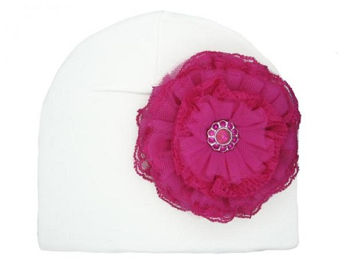 White Cotton Hat with Raspberry Lace Rose