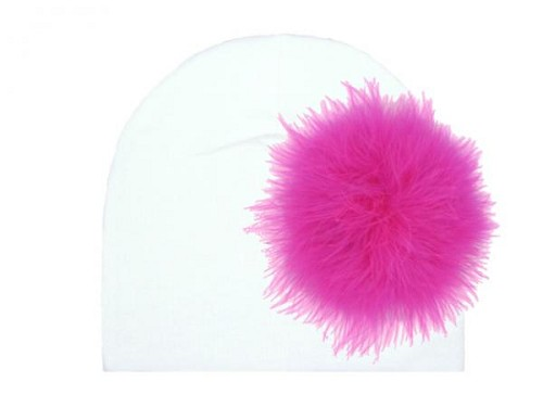 White Cotton Hat with Raspberry Large regular Marabou