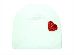 White Applique Hat with Red Heart
