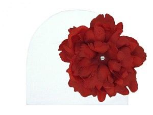 White Cotton Hat with Red Large Peony