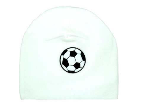 White Applique Hat with Soccer Ball