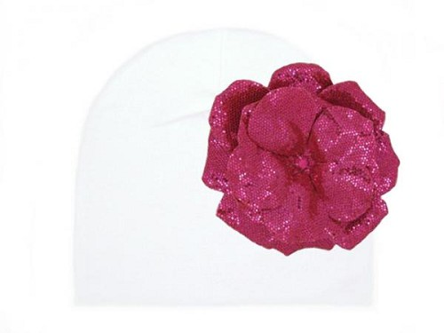 White Cotton Hat with Sequins Raspberry Rose