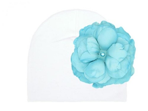 White Cotton Hat with Teal Large Rose