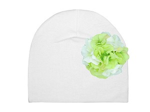 White Cotton Hat with White Green Large Geraniums