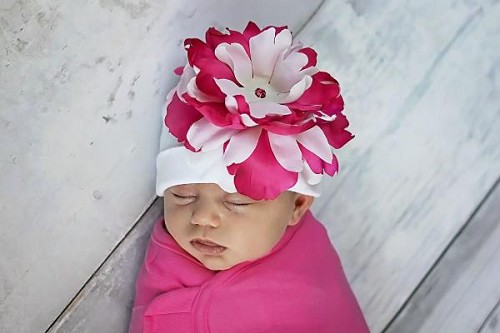 White Cotton Hat with White Raspberry Large Peony