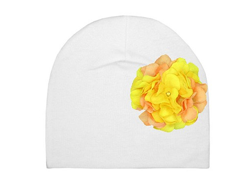 White Cotton Hat with Yellow Orange Large Geraniums