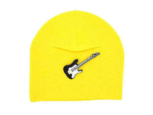 Yellow Applique Hat with Black Guitar