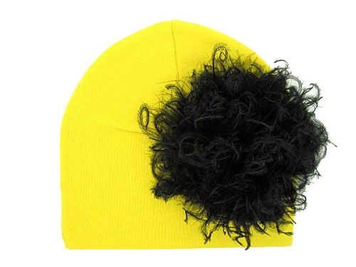 Yellow Cotton Hat with Black Large Curly Marabou