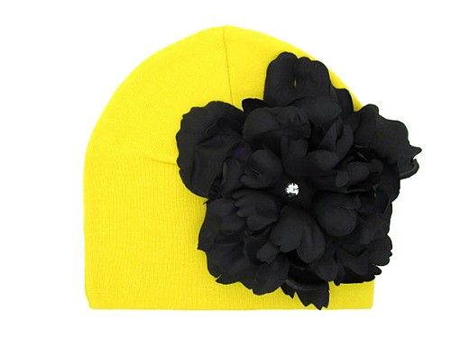 Yellow Cotton Hat with Black Large Peony