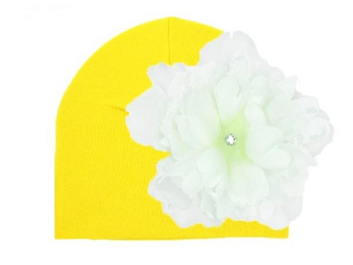 Yellow Cotton Hat with White Large Peony