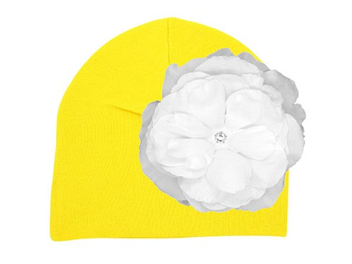 Yellow Cotton Hat with White Large Rose