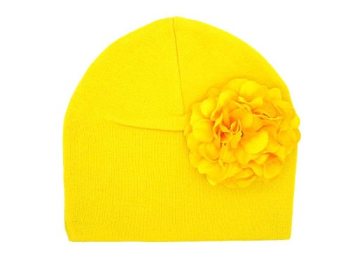Yellow Cotton Hat with Yellow Large Geraniums