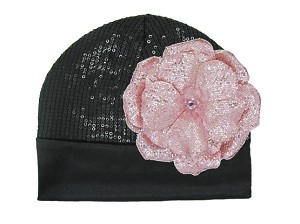 Black Couture with Sequins Pale Pink Rose