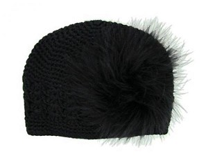 Black Crochet Hat with Black Large regular Marabou