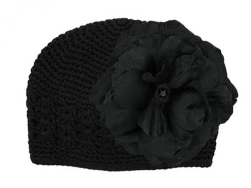 Black Crochet Hat with Black Large Rose