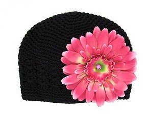 Black Crochet Hat with Candy Pink Daisy