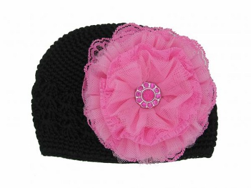 Black Crochet Hat with Candy Pink Lace Rose