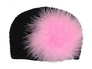 Black Crochet Hat with Candy Pink Large regular Marabou