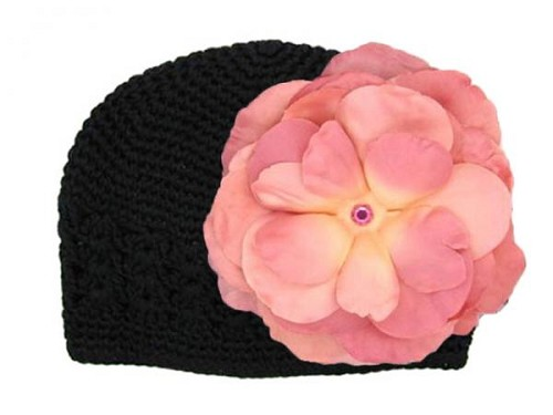 Black Crochet Hat with Candy Pink Large Rose