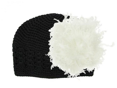 Black Crochet Hat with Cream Large Curly Marabou