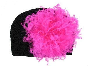 Black Crochet Hat with Hot Pink Large Curly Marabou