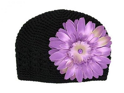 Black Crochet Hat with Lavender Daisy