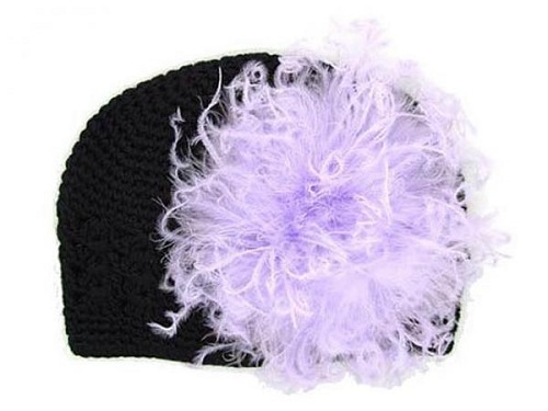Black Crochet Hat with Lavender Large Curly Marabou