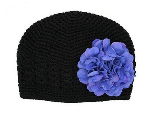 Black Crochet Hat with Lavender Large Geraniums