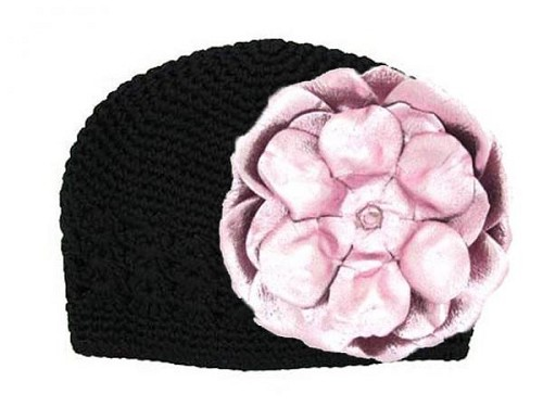 Black Crochet Hat with Metallic Pale Pink Rose