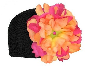 Black Crochet Hat with Orange Raspberry Large Peony