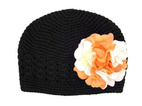 Black Crochet Hat with Orange White Large Geraniums