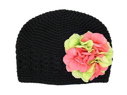 Black Crochet Hat with Pink Green Large Geraniums