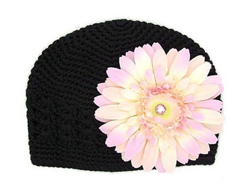 Black Crochet Hat with Pale Pink Daisy