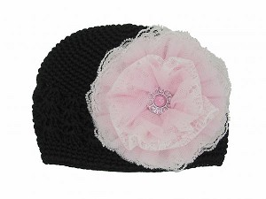 Black Crochet Hat with Pale Pink Lace Rose
