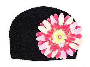 Black Crochet Hat with Pink Raspberry Daisy