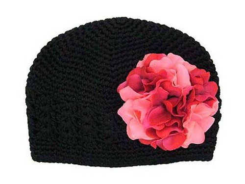 Black Crochet Hat with Pink Raspberry Large Geraniums