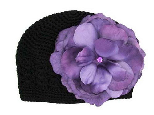 Black Crochet Hat with Purple Large Rose