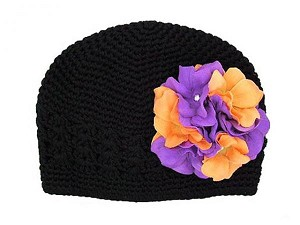 Black Crochet Hat with Purple Orange Large Geraniums