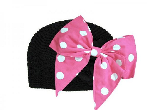 Black Crochet Hat with Pink White Bow-Rae-Mi