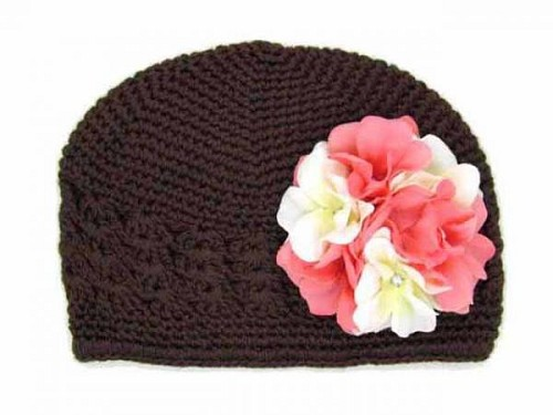 Black Crochet Hat with Pink White Large Geraniums