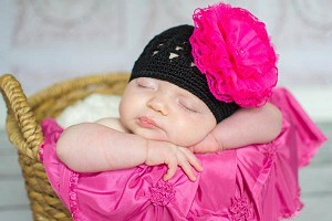 Black Crochet Hat with Raspberry Lace Rose