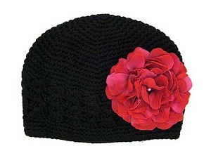 Black Crochet Hat with Raspberry Large Geraniums
