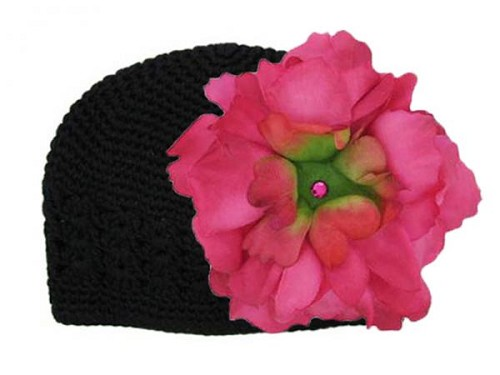 Black Crochet Hat with Raspberry Large Peony