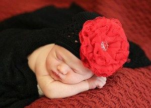 Black Crochet Hat with Red Lace Rose