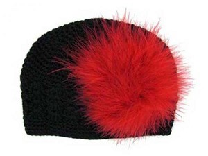 Black Crochet Hat with Red Large regular Marabou